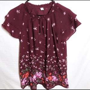 4/$25🔥 Old Navy Floral keyhole blouse